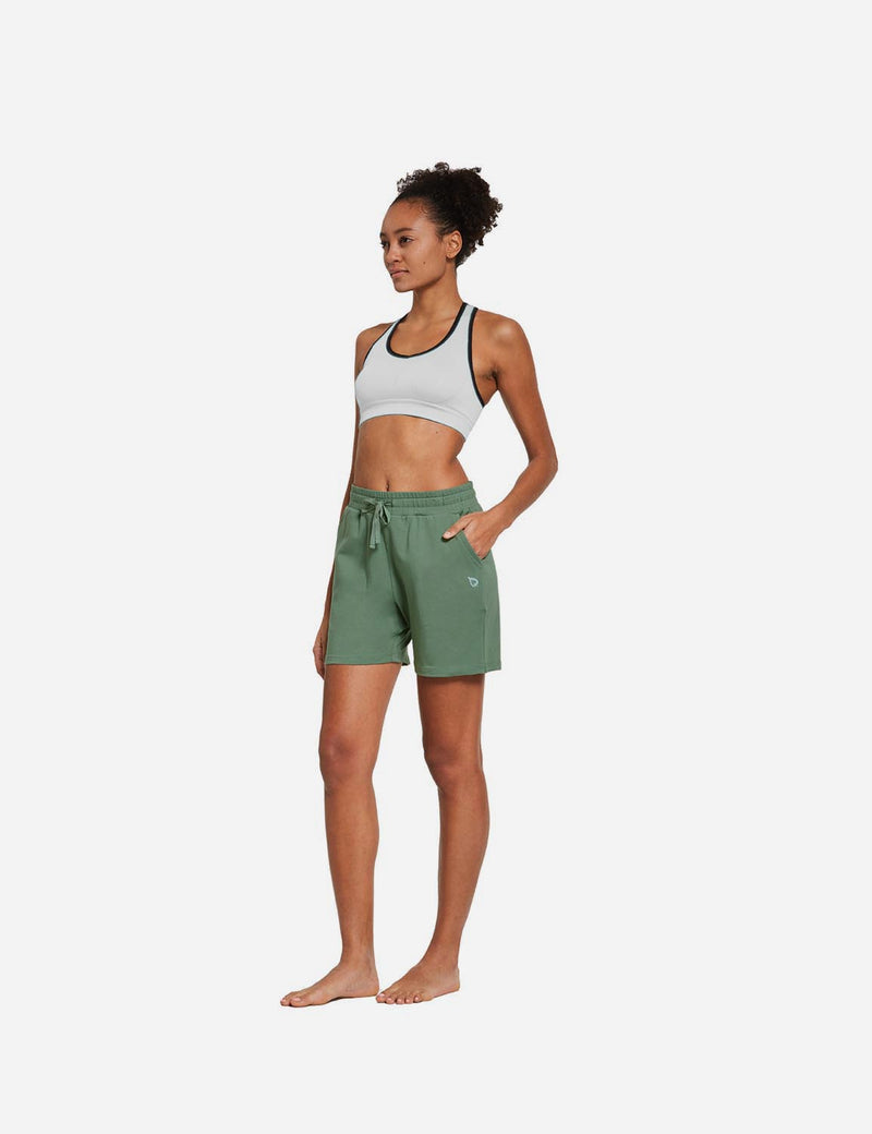 Baleaf Womens 5'' Activewear Cotton Pocketed Jogger & Weekend Shorts Loden Frost full