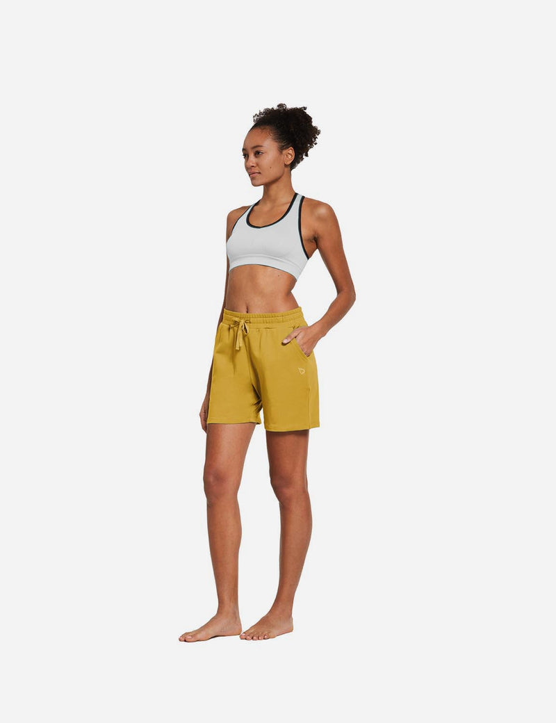 Baleaf Womens 5'' Activewear Cotton Pocketed Jogger & Weekend Shorts Misted Yellow full