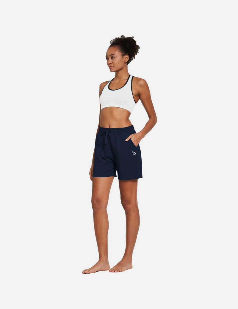 Baleaf Womens 5'' Activewear Cotton Pocketed Jogger & Weekend Shorts Navy Blue full