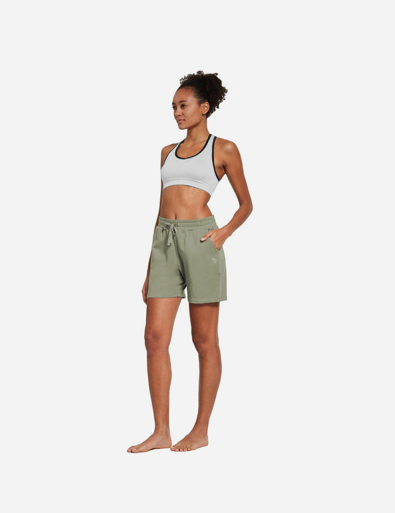 Baleaf Womens 5'' Activewear Cotton Pocketed Jogger & Weekend Shorts Spray Green full
