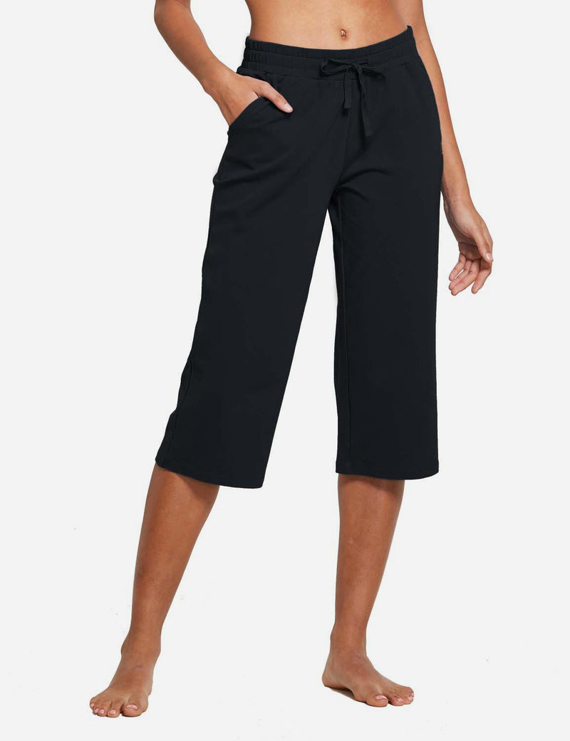 Baleaf Womens 20'' High Rise Drawcord Loose Fit Pocketed Sweatpants Black front
