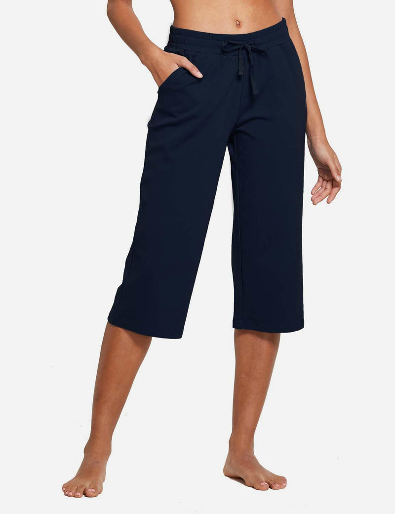 Baleaf Womens 20'' High Rise Drawcord Loose Fit Pocketed Sweatpants Navy Blue front