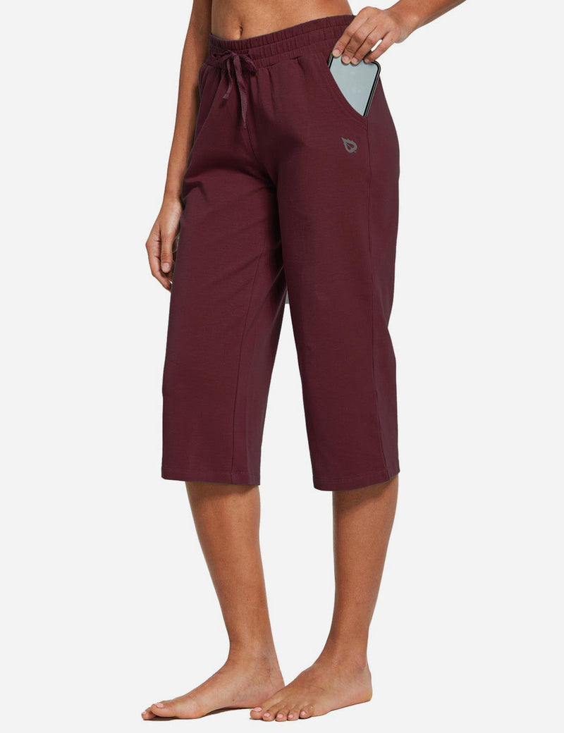 Baleaf Womens 20'' High Rise Drawcord Loose Fit Pocketed Sweatpants Burgundy front