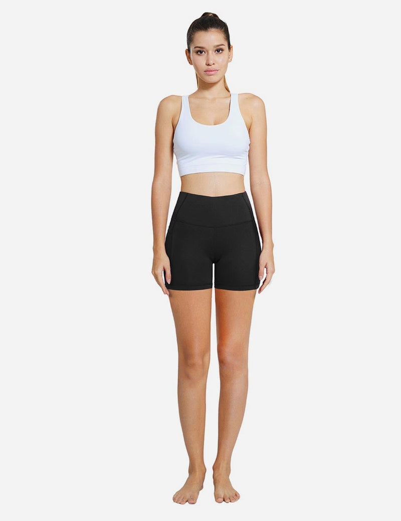 Baleaf Womens 5'' High-Rise Non-See-Through Pocketed Shapewear Gym Shorts Black details