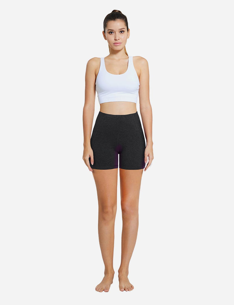 Baleaf Womens 5'' High-Rise Non-See-Through Pocketed Shapewear Gym Shorts Charcoal details