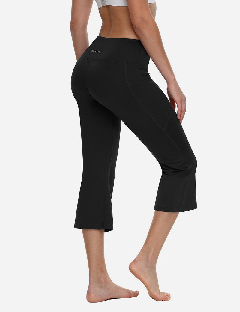 Baleaf Women Side Pockets Bootleg Capris Black back