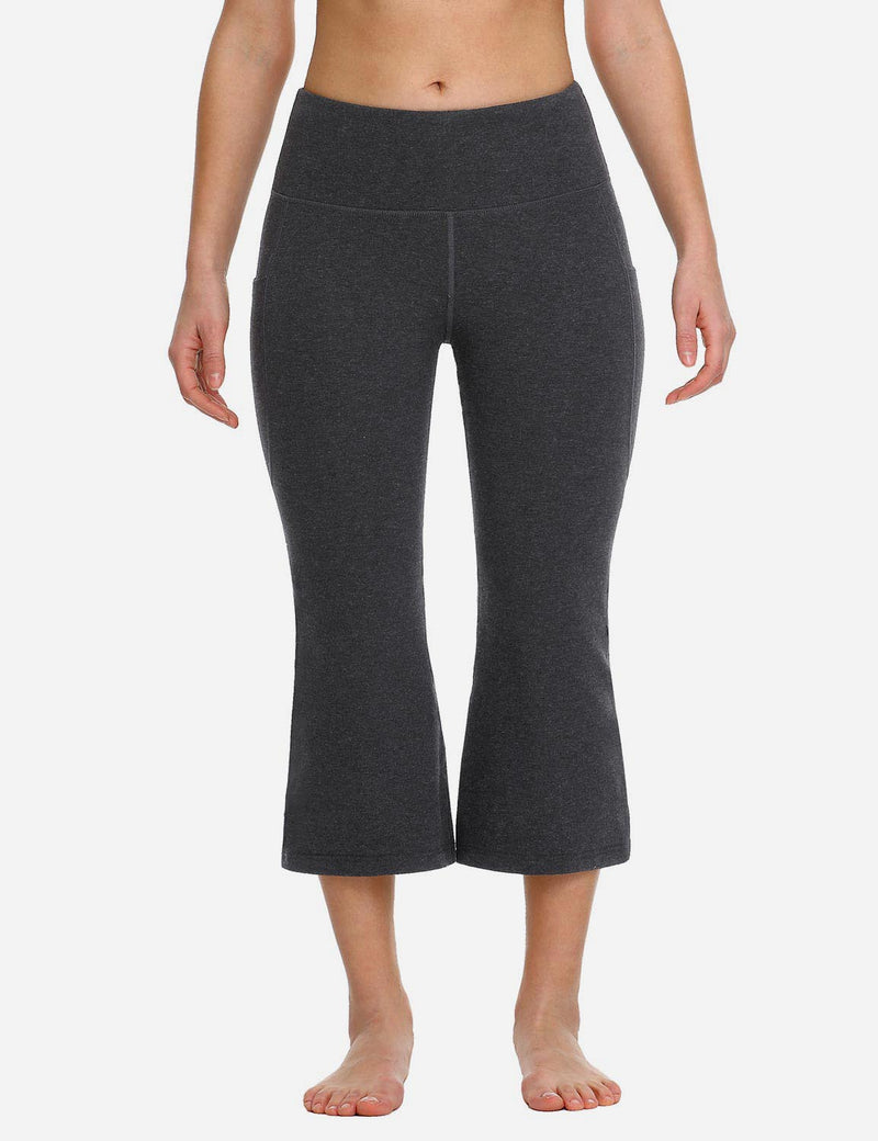 Baleaf Women Side Pockets Bootleg Capris Charcoal back