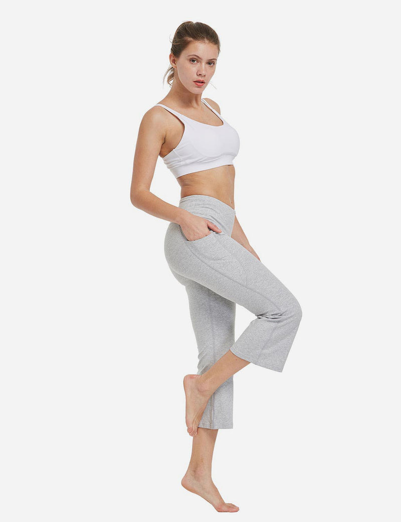 Baleaf Women Side Pockets Bootleg Capris Light Grey full