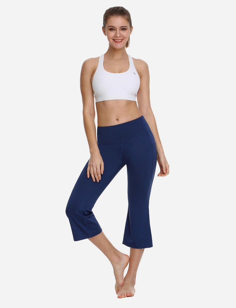 Baleaf Women Side Pockets Bootleg Capris Navy back