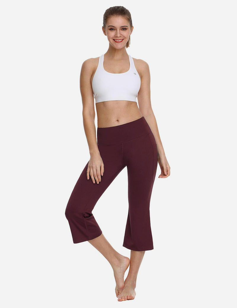 Baleaf Women Side Pockets Bootleg Capris Ruby Wine back