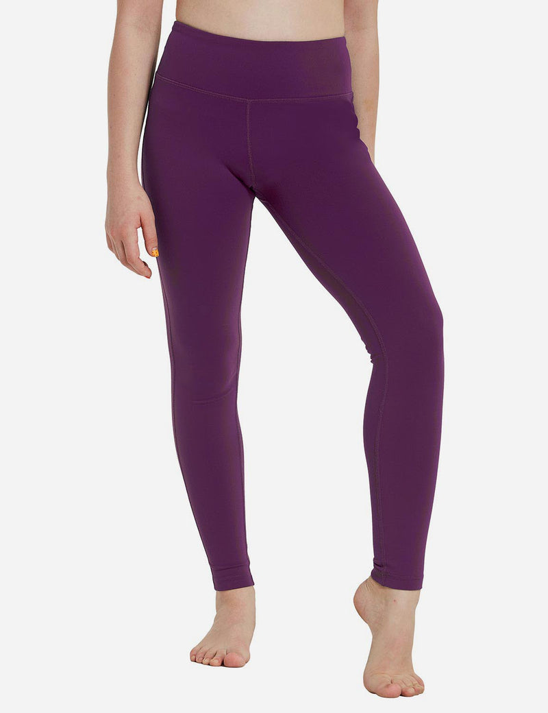 Baleaf Girl's Basic Hidden Pocket Leggings Dark Magenta front