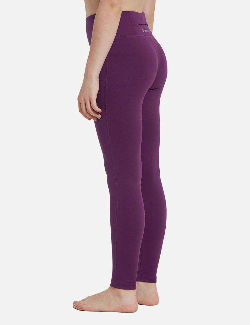Baleaf Girl's Basic Hidden Pocket Leggings Dark Magenta back