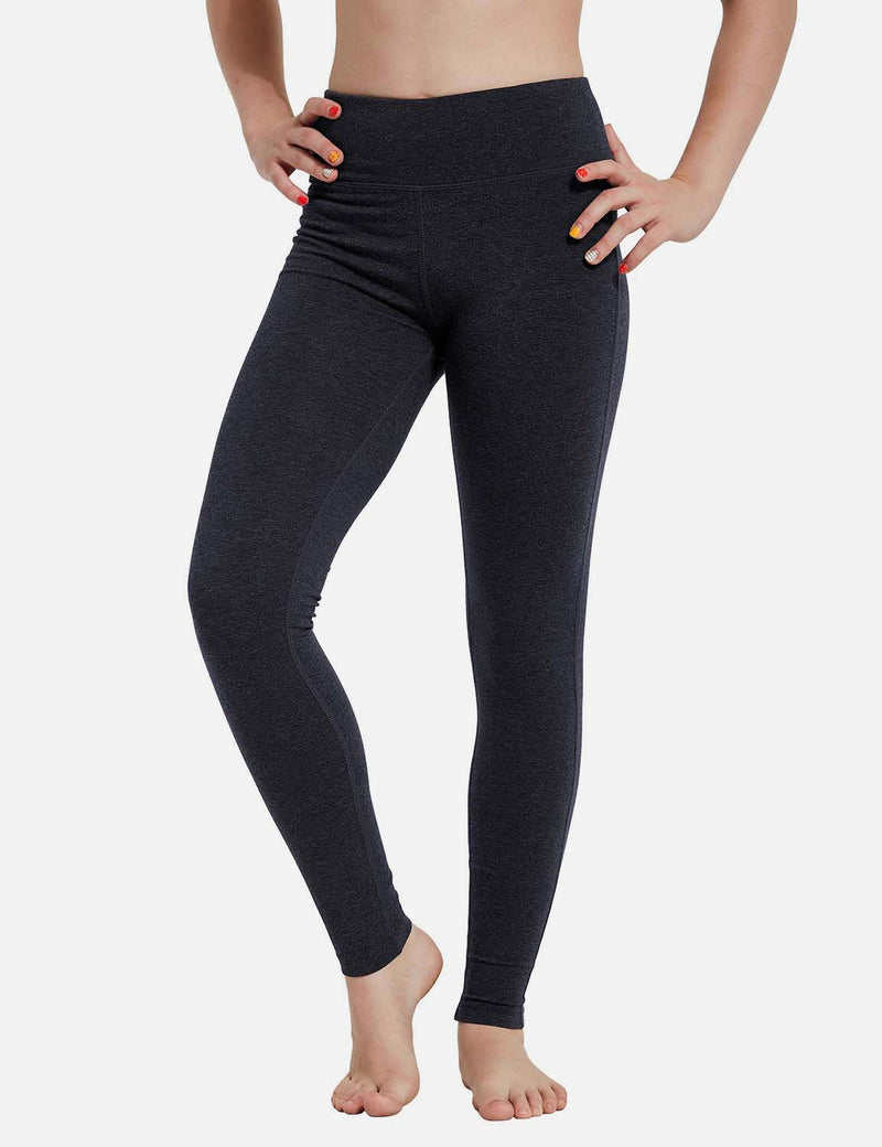 Baleaf Girl's Basic Hidden Pocket Leggings Charcoal front