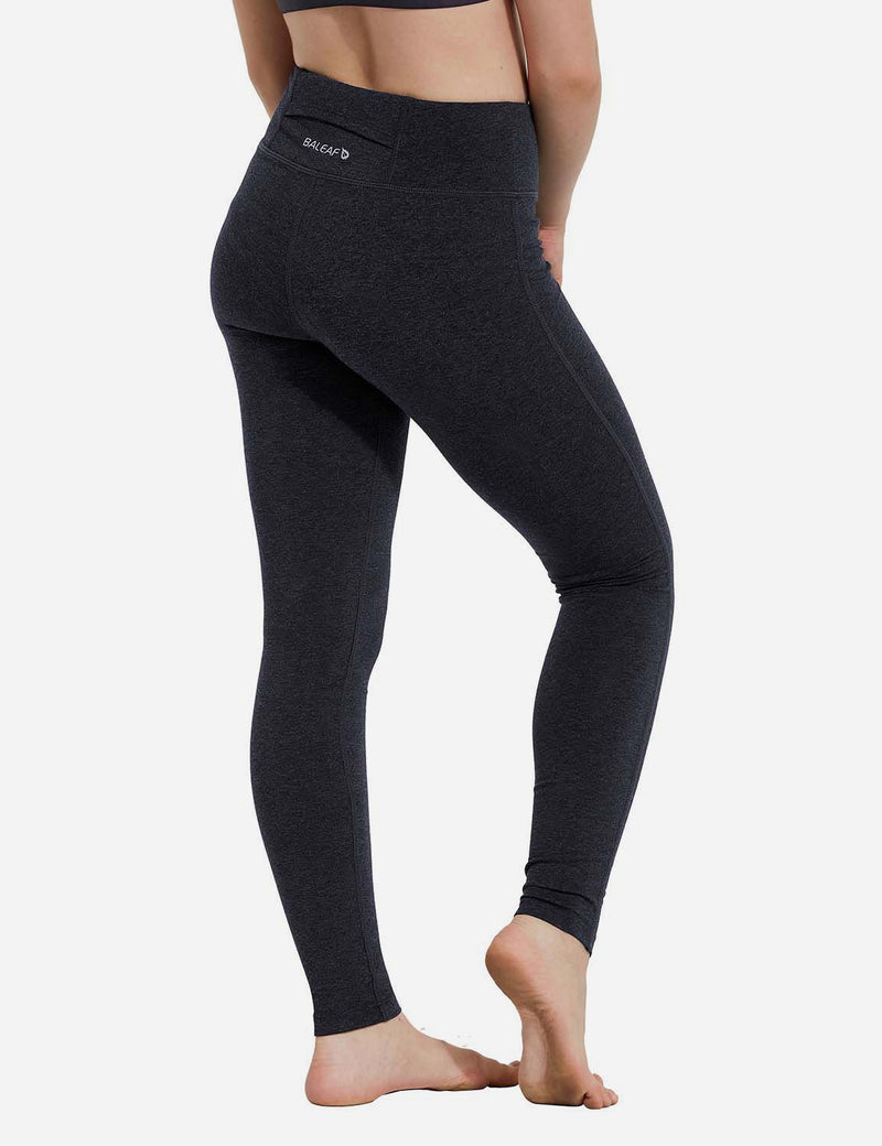 Baleaf Girl's Basic Hidden Pocket Leggings Navy back