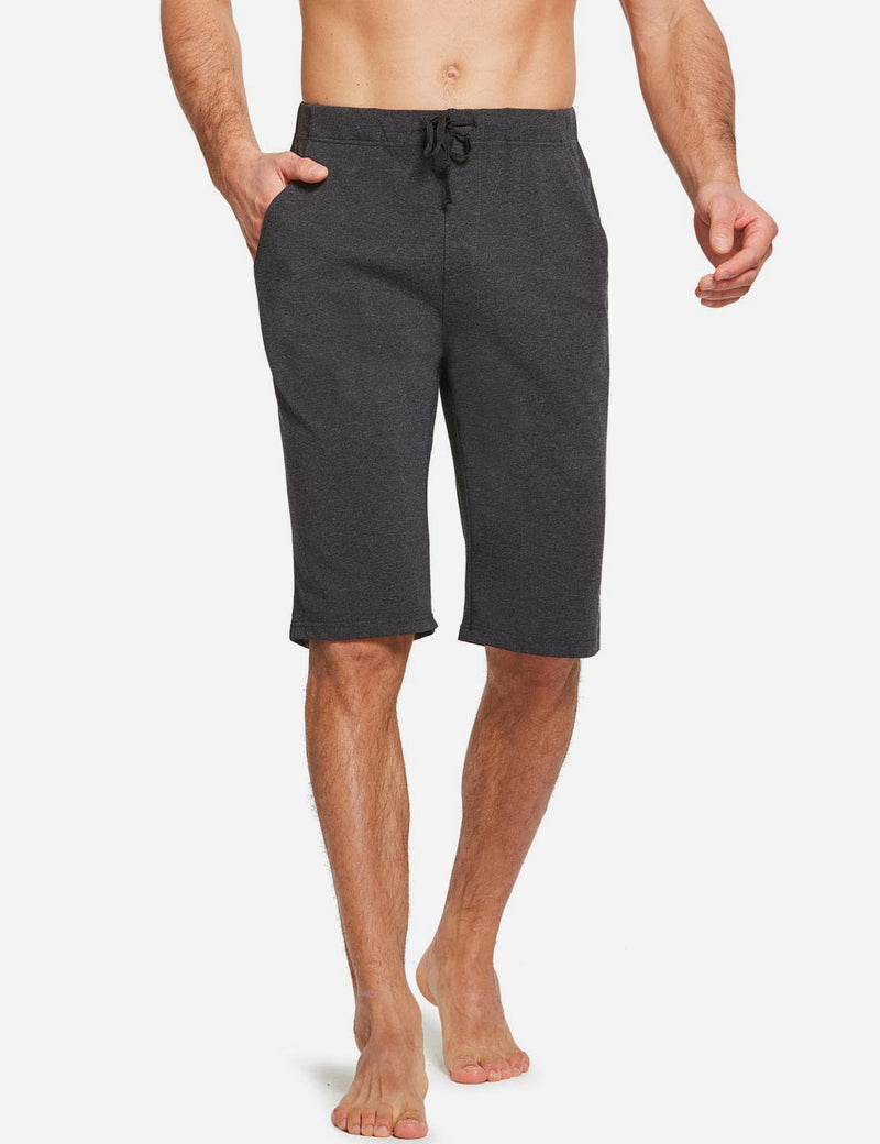 Baleaf Men's Cotton Multifunctional Open Bottom Weekend Bermuda Shorts charcoal front