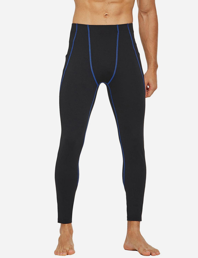 Baleaf Mens Gusseted Crotch Side Pocketed Gym & Yoga Tights Black/Blue front