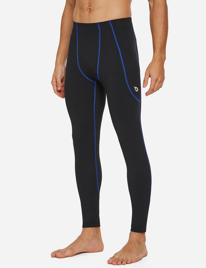 Baleaf Mens Gusseted Crotch Side Pocketed Gym & Yoga Tights Black/Blue side