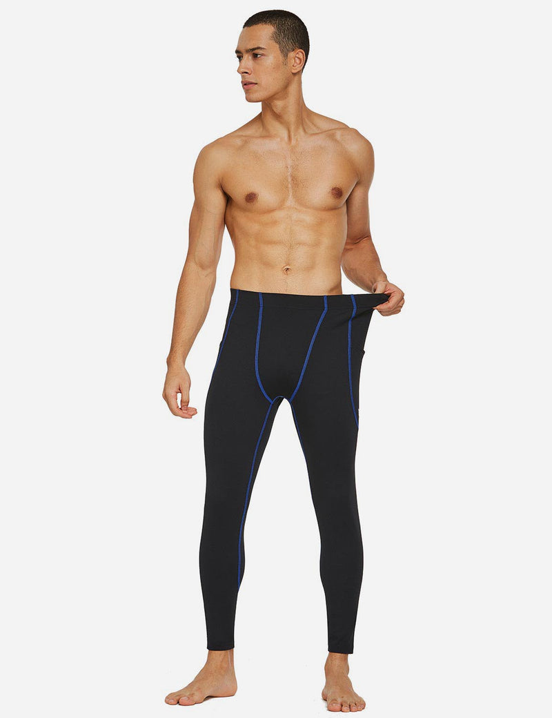 Baleaf Mens Gusseted Crotch Side Pocketed Gym & Yoga Tights Black/Blue full