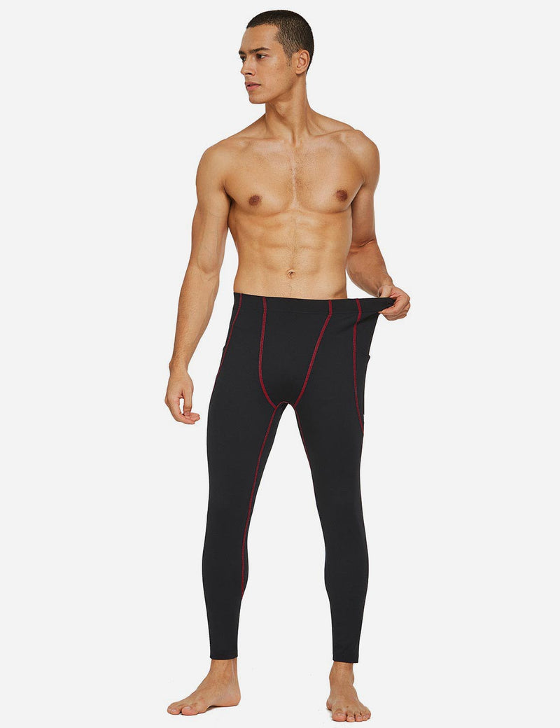 Baleaf Mens Gusseted Crotch Side Pocketed Gym & Yoga Tights Black/Red full