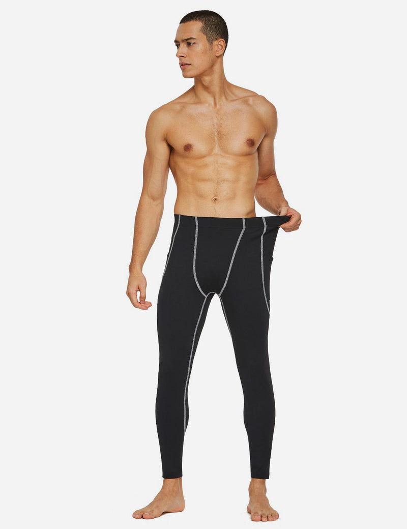 Baleaf Mens Gusseted Crotch Side Pocketed Gym & Yoga Tights Black/White full