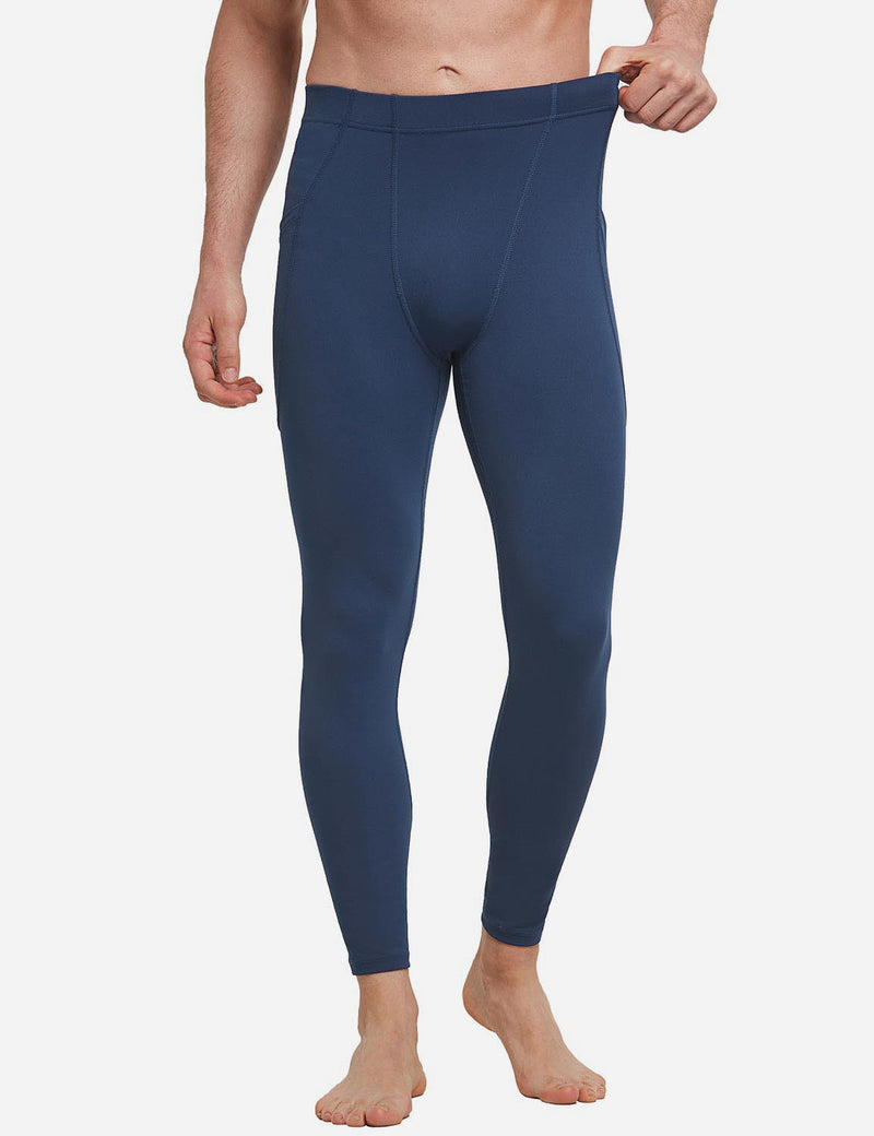 Baleaf Mens Gusseted Crotch Side Pocketed Gym & Yoga Tights Dark Blue front