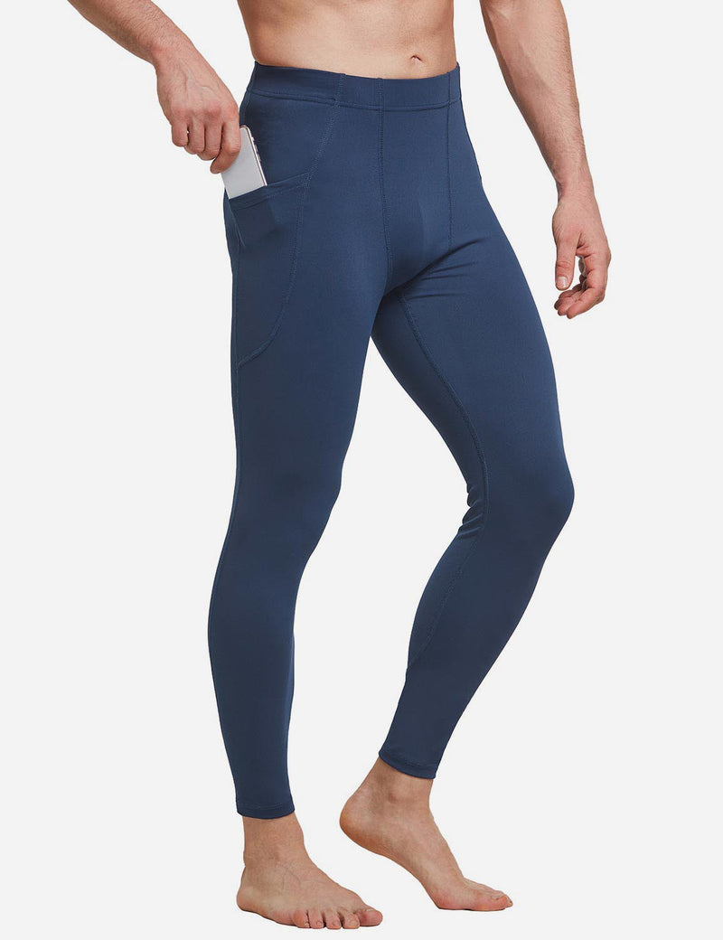 Baleaf Mens Gusseted Crotch Side Pocketed Gym & Yoga Tights Dark Blue side