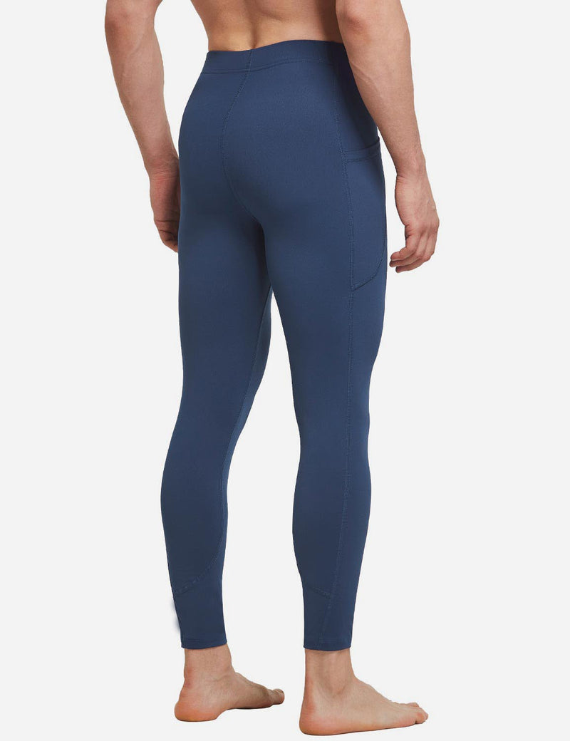 Baleaf Mens Gusseted Crotch Side Pocketed Gym & Yoga Tights Dark Blue back