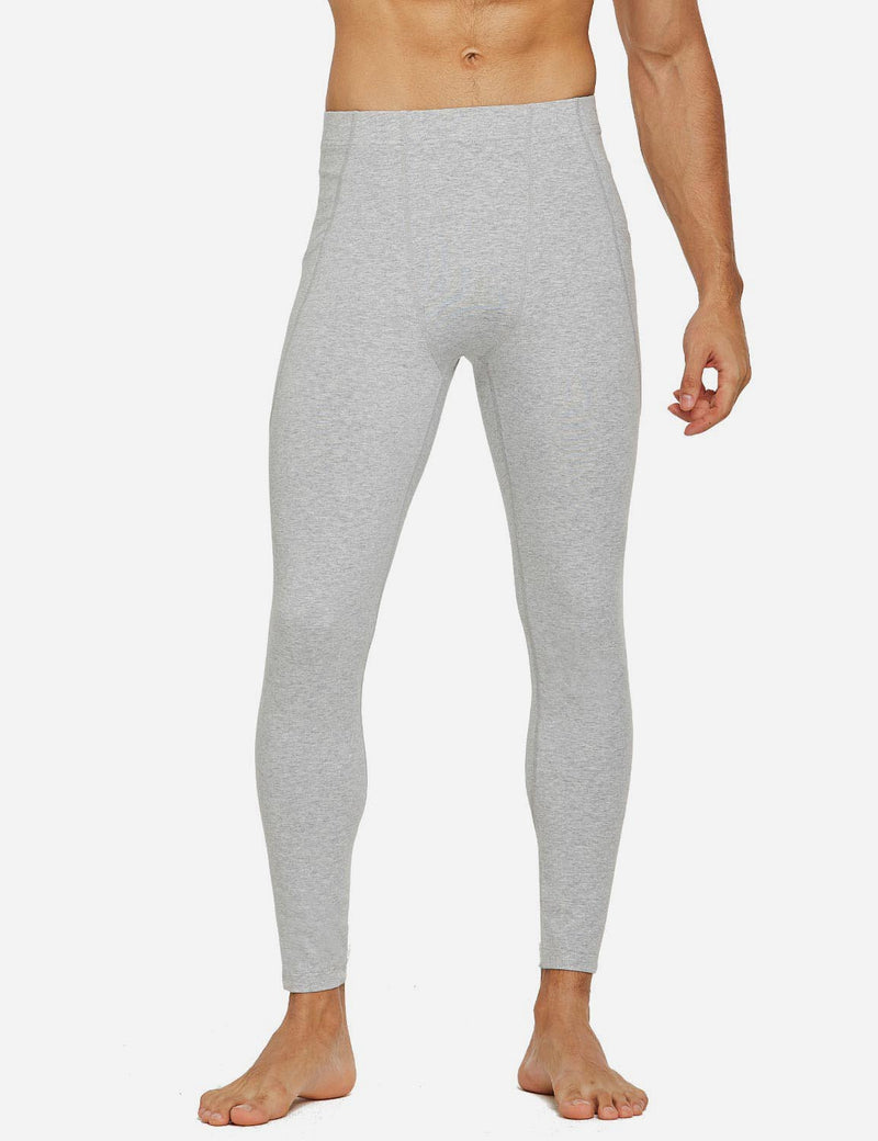 Baleaf Mens Gusseted Crotch Side Pocketed Gym & Yoga Tights Light Gray front