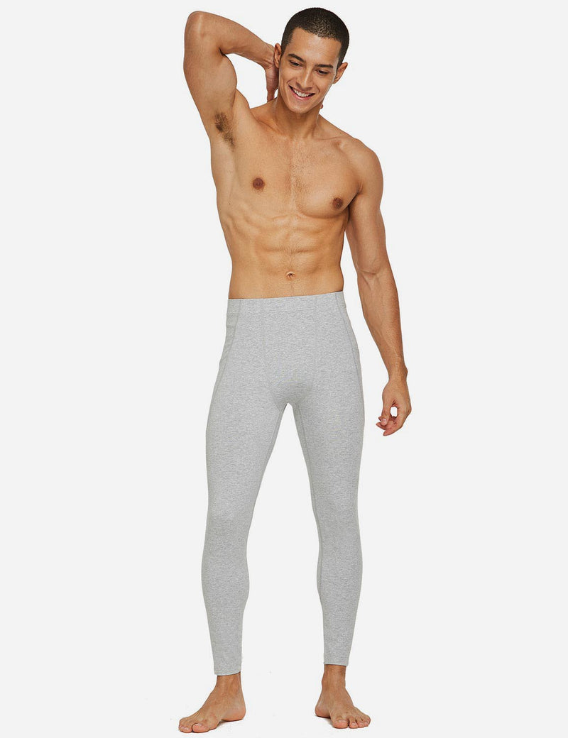 Baleaf Mens Gusseted Crotch Side Pocketed Gym & Yoga Tights Light Gray full