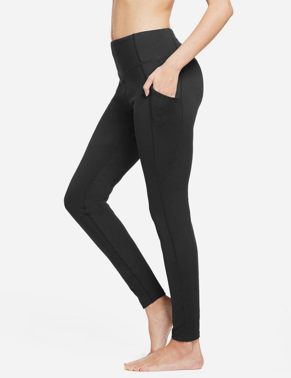 Baleaf Womens Thermal High Waist Fleece Lined Winter Leggings Black side