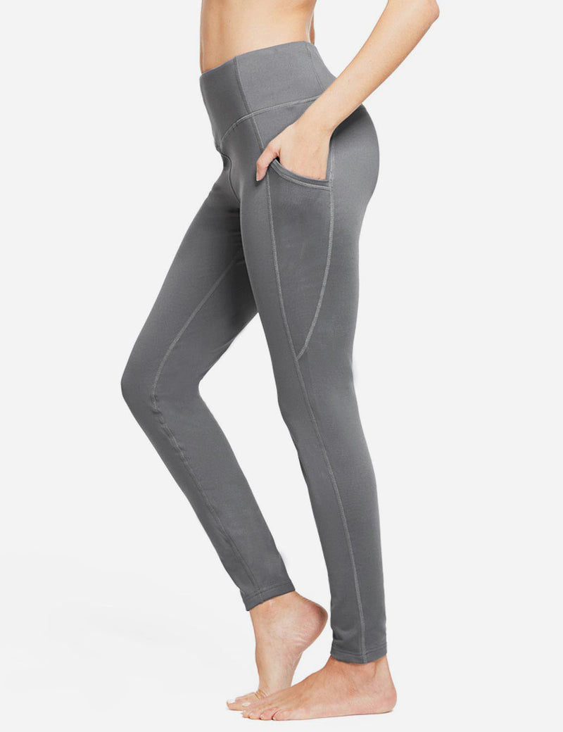 Baleaf Womens Thermal High Waist Fleece Lined Winter Leggings Grey side