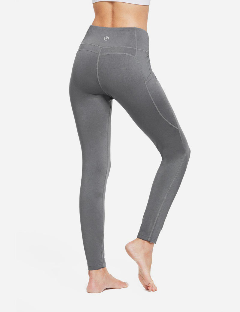 Baleaf Womens Thermal High Waist Fleece Lined Winter Leggings Grey back