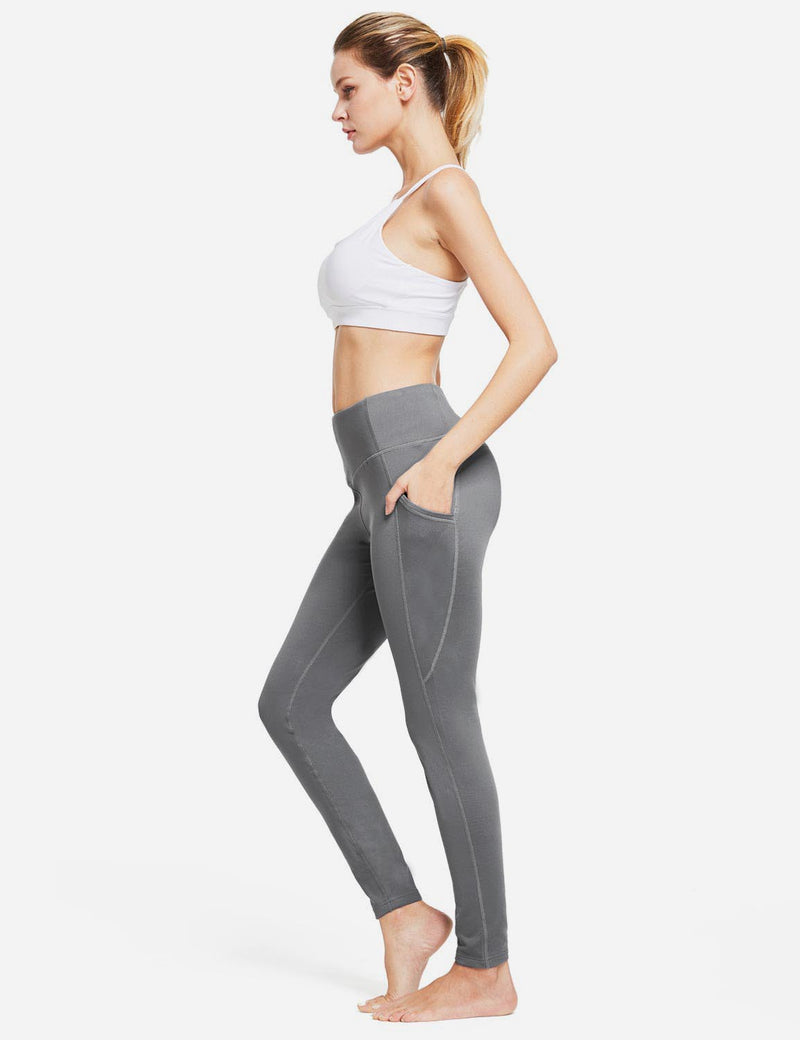 Baleaf Womens Thermal High Waist Fleece Lined Winter Leggings Grey full