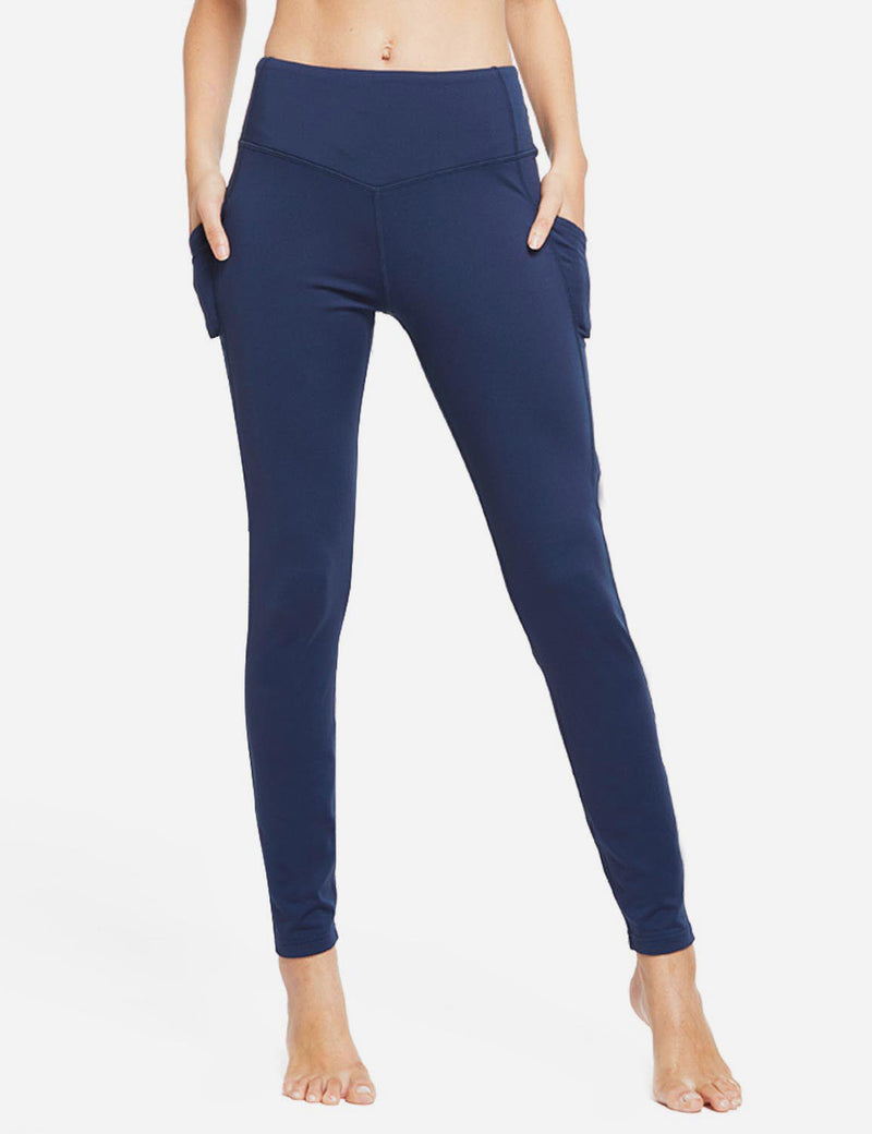 Baleaf Womens Thermal High Waist Fleece Lined Winter Leggings Navy Blue front