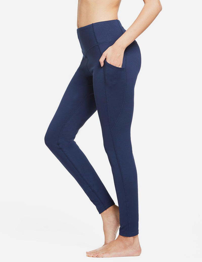 Baleaf Womens Thermal High Waist Fleece Lined Winter Leggings Navy Blue side