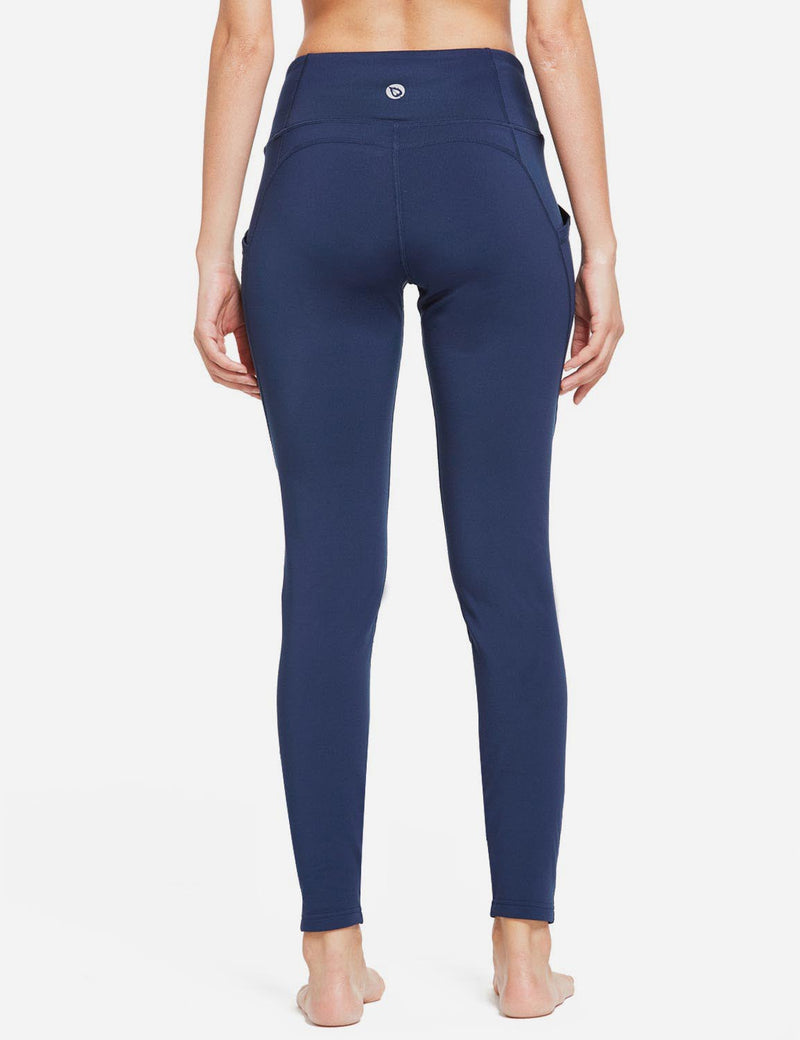 Baleaf Womens Thermal High Waist Fleece Lined Winter Leggings Navy Blue back