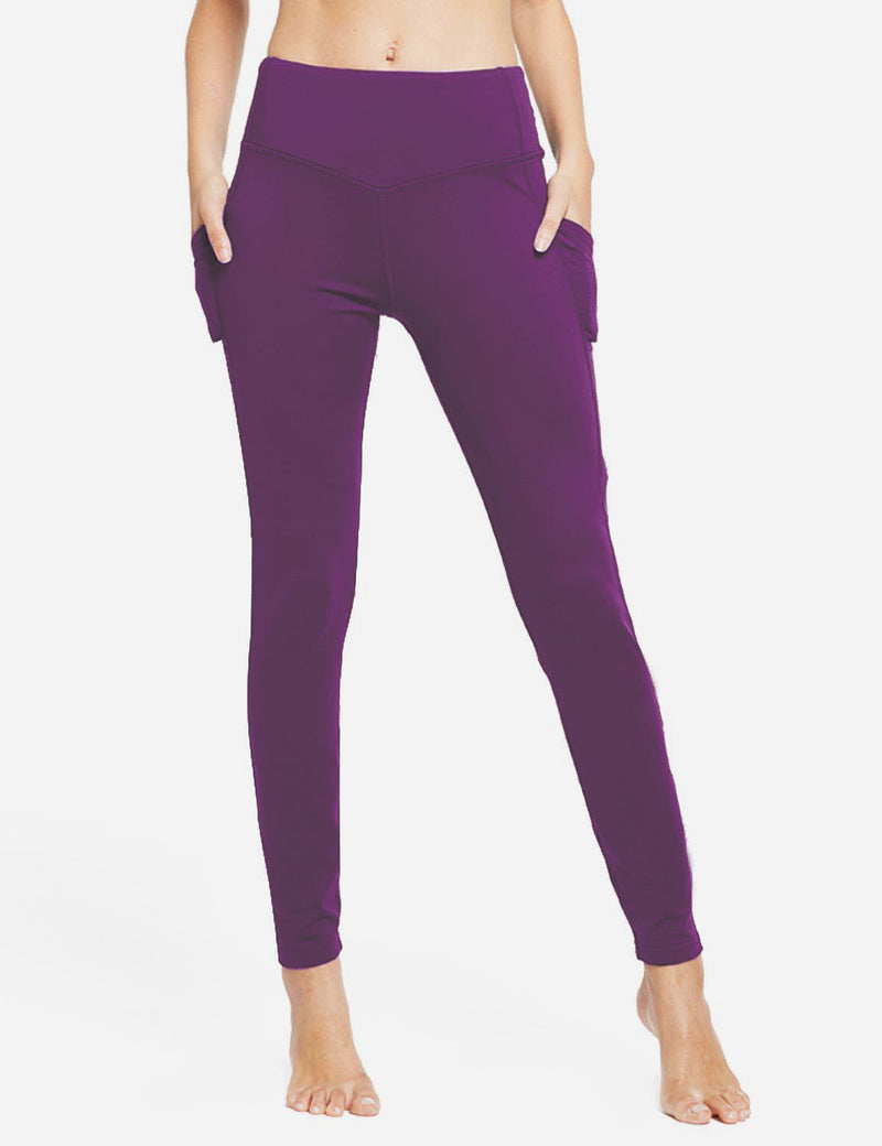 Baleaf Womens Thermal High Waist Fleece Lined Winter Leggings Purple front