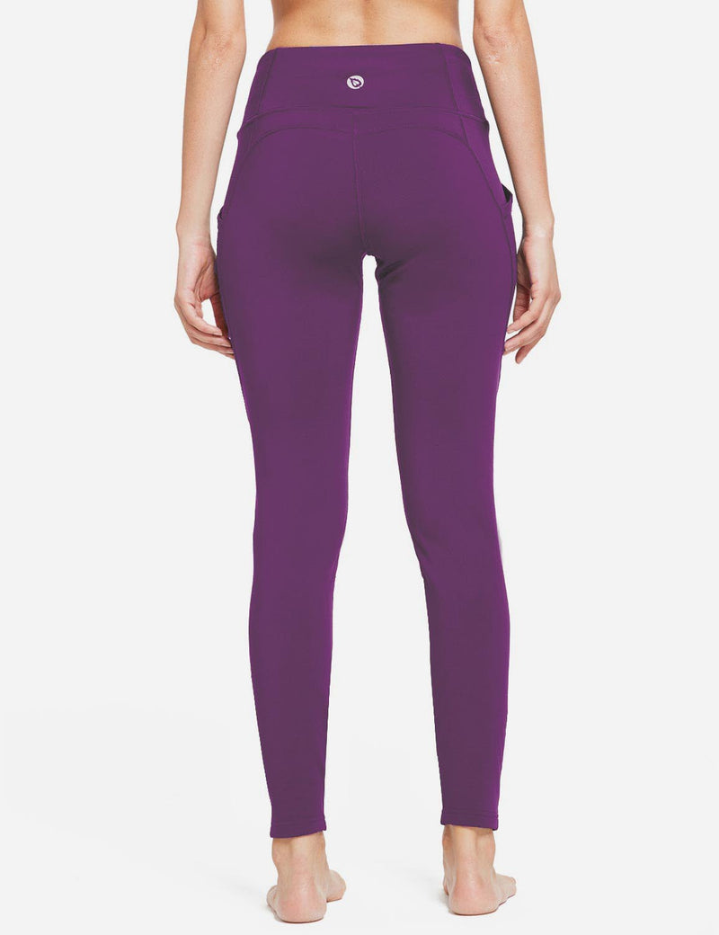 Baleaf Womens Thermal High Waist Fleece Lined Winter Leggings Purple back