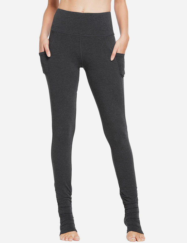 Baleaf Womens High Rise Extra Long Side Pockets Heel Leggings Charcoal front