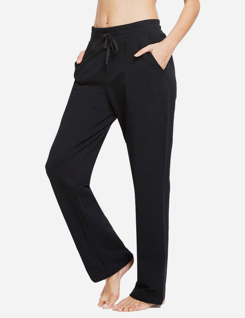 Baleaf Womens Fleece Loose Fit Casual Pocketed Sweat Pants Black side