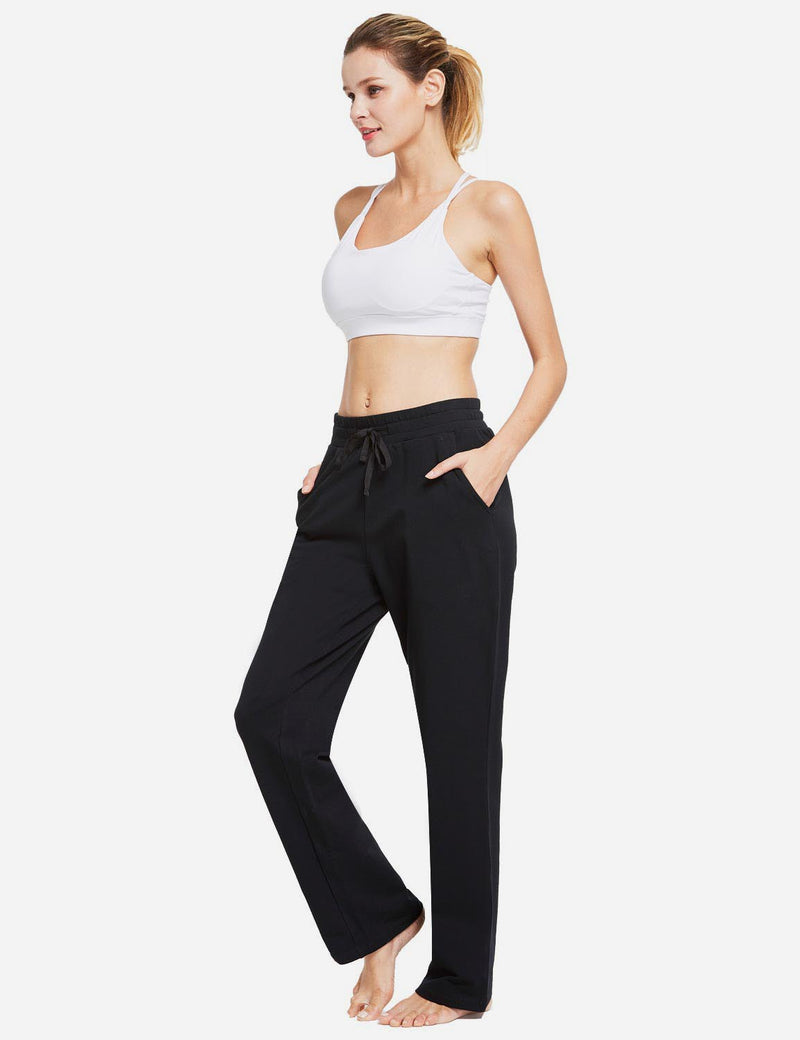 Baleaf Womens Fleece Loose Fit Casual Pocketed Sweat Pants Black full