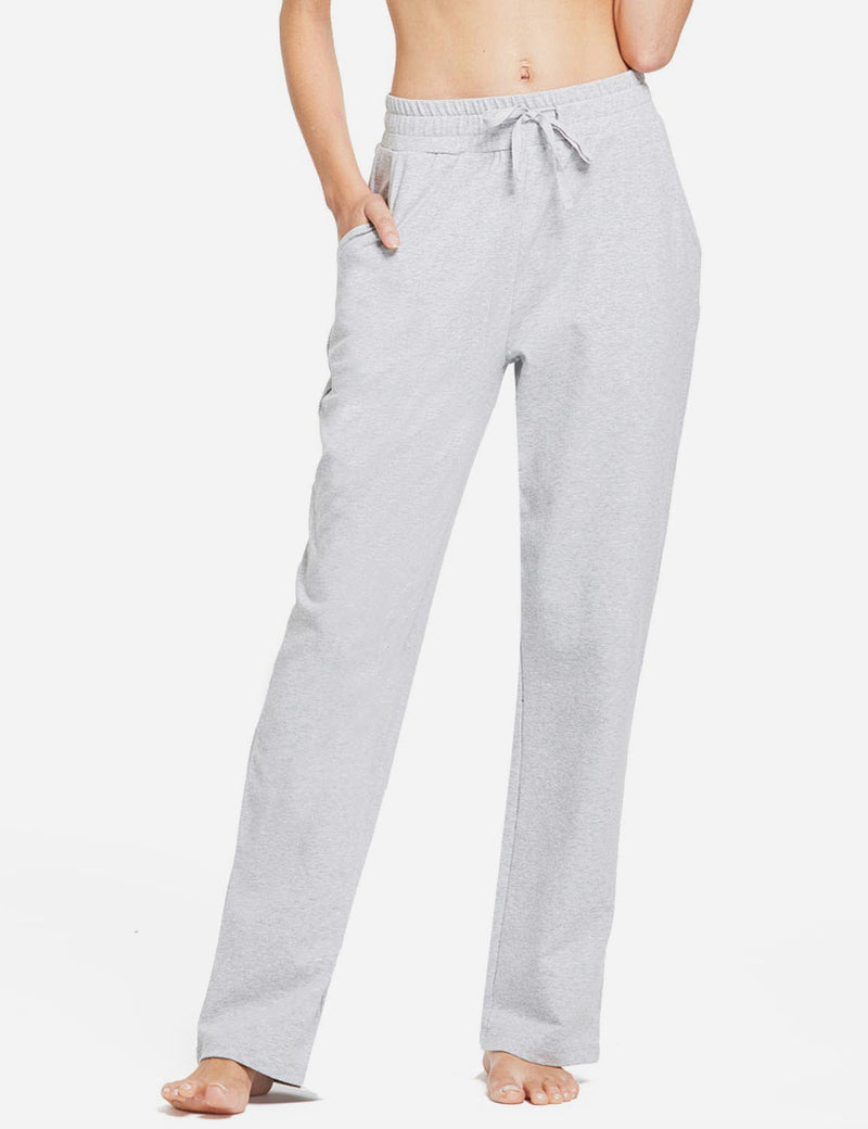 Baleaf Womens Fleece Loose Fit Casual Pocketed Sweat Pants Light grey front