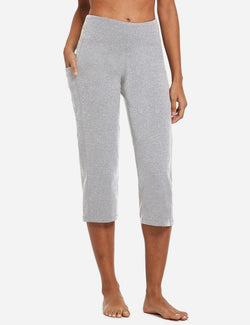Baleaf Womens High Rise Non-See-Through Pocketed Open End Leggings Light Gray Front