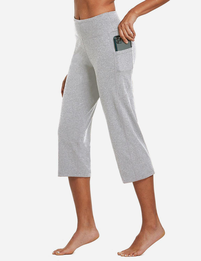 Baleaf Womens High Rise Non-See-Through Pocketed Open End Leggings Light Gray Side