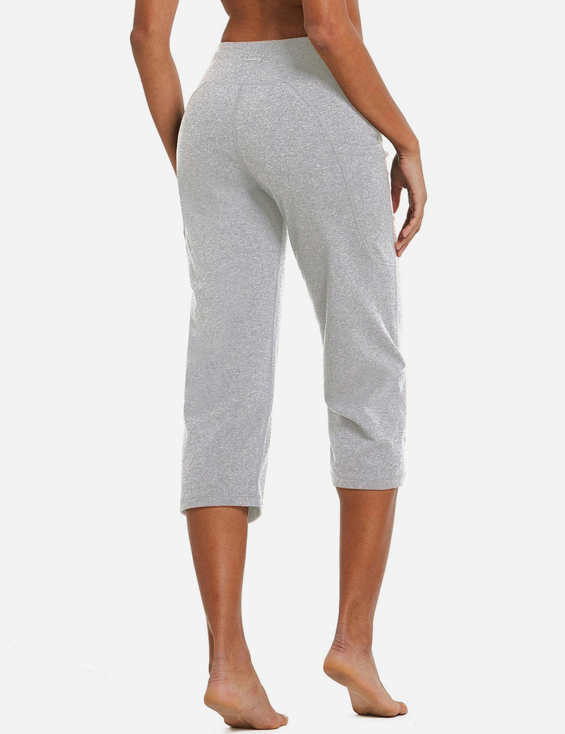 Baleaf Womens High Rise Non-See-Through Pocketed Open End Leggings Light Gray Back