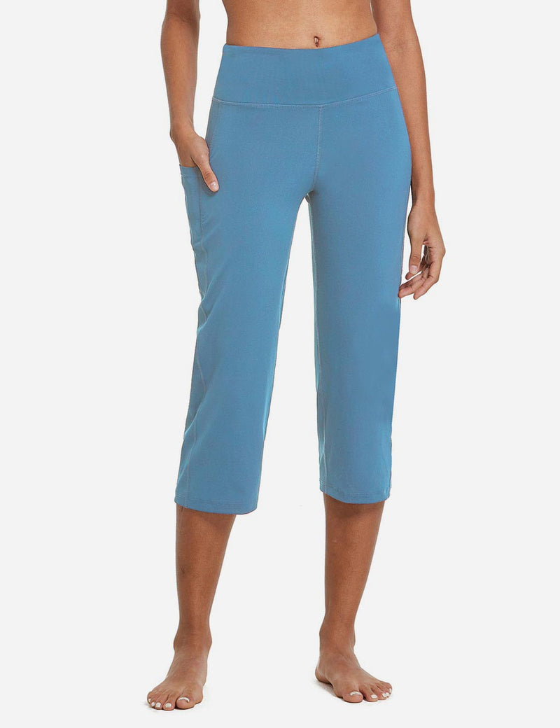Baleaf Womens High Rise Non-See-Through Pocketed Open End Leggings Niagara Front