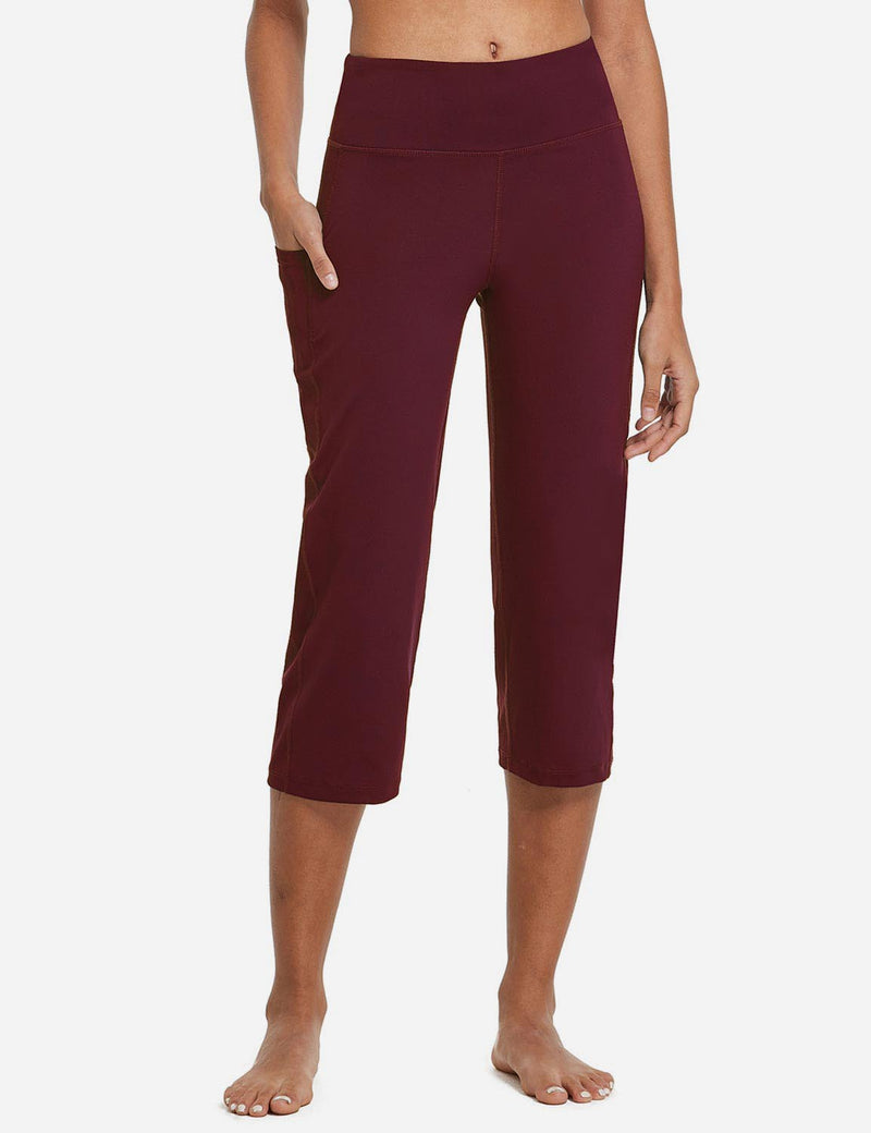 Baleaf Womens High Rise Non-See-Through Pocketed Open End Leggings Wine Red Front