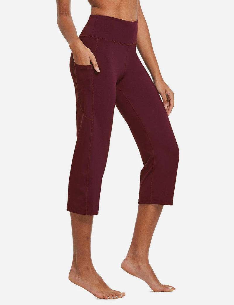 Baleaf Womens High Rise Non-See-Through Pocketed Open End Leggings Wine Red Side