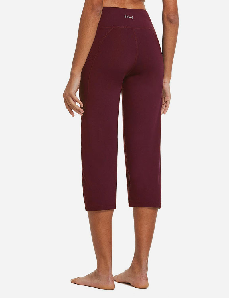 Baleaf Womens High Rise Non-See-Through Pocketed Open End Leggings Wine Red Back