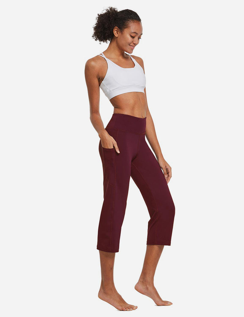 Baleaf Womens High Rise Non-See-Through Pocketed Open End Leggings Wine Red Full